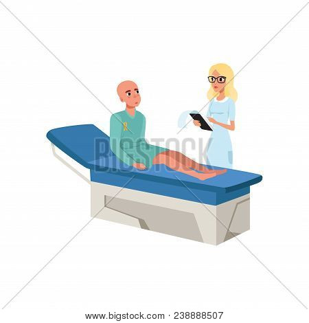 Doctor Examining Her Patient At Hospital, Bald Man With Cancer After Chemotherapy, Oncology Therapy,