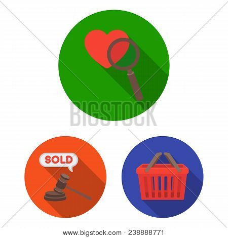E-commerce, Purchase And Sale Flat Icons In Set Collection For Design. Trade And Finance Vector Symb