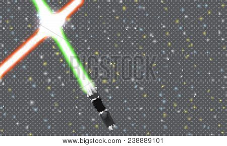 Light swords on Space Background. Eps10. Lightsaber on The Night Sky. Starry way. Light neon swords. Realistic lightsaber. Space Stars Background. Vector Illustration of The Night Sky. Light swords on horizon. Starry sky. Starstruck way. Space Star wars.