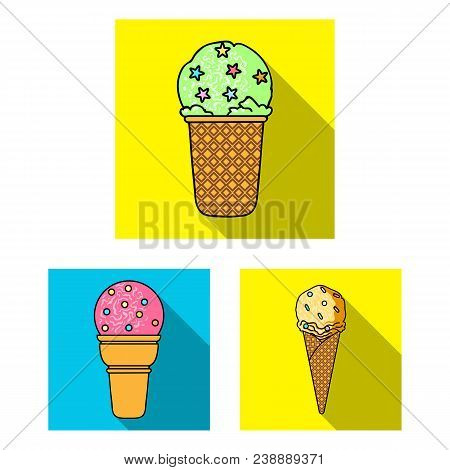 Different Ice Cream Flat Icons In Set Collection For Design. Dessert And Sweetness Vector Symbol Sto