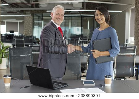 Two Happy Business Partners Handshaking After Successful Meeting. Smiling Mid Adult Male Customer An