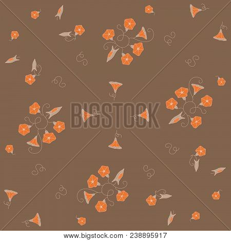 Stylized Seamless Pattern From The Orange Wild Flowers Bindweeds On Brown