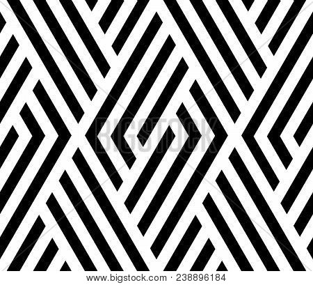 Abstract Geometric Pattern With Stripes, Lines. A Seamless Vector Background. White And Black Orname