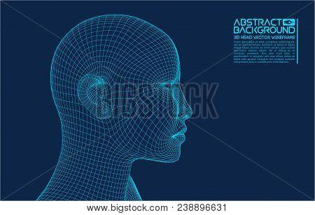 Ai Digital Brain. Artificial Intelligence Concept. Human Head In Robot Digital Computer Interpretati