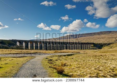 The Ribblehead Viaduct, A Well Known Landmark On The Settle-carlisle Railway In Northern England Und