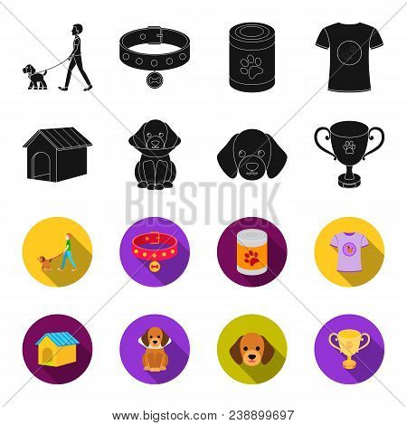 Dog House, Protective Collar, Dog Muzzle, Cup. Dog Set Collection Icons In Black, Flet Style Vector
