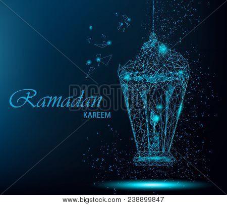 Ramadan Kareem Beautiful Greeting Card With Traditional Arabic Lantern. Polygonal Art On Blue Backgr