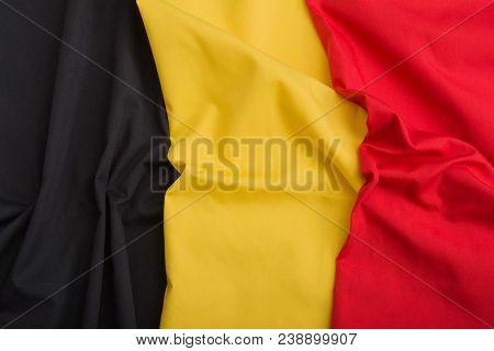 Flag Of Belgium. Belgium Symbol Design For Background. Black, Yellow And Red Flag. 3d Flag Of Belgiu