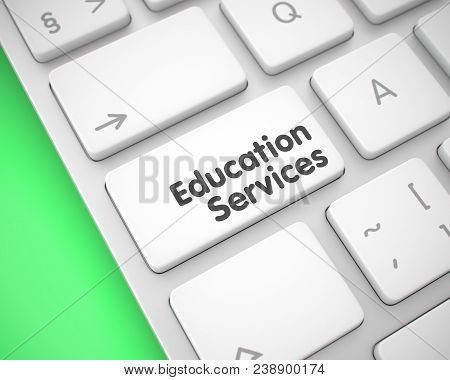 Online Service Concept: Education Services On The White Keyboard Background. Service Concept With La