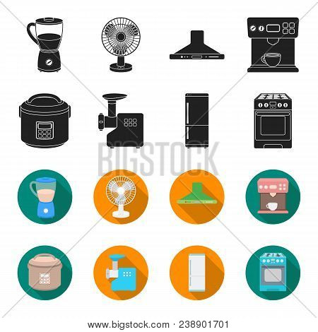 Multivarka, Refrigerator, Meat Grinder, Gas Stove.household Set Collection Icons In Black, Flet Styl
