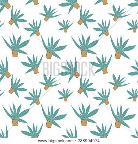 Home Green Aloe In Brown Pot In Doodle Style, Flat Cartoon Colors, Seamless Pattern Isolated On Whit