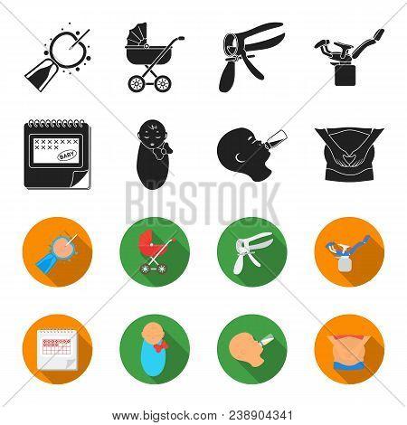 Calendar, Newborn, Stomach Massage, Artificial Feeding. Pregnancy Set Collection Icons In Black, Fle