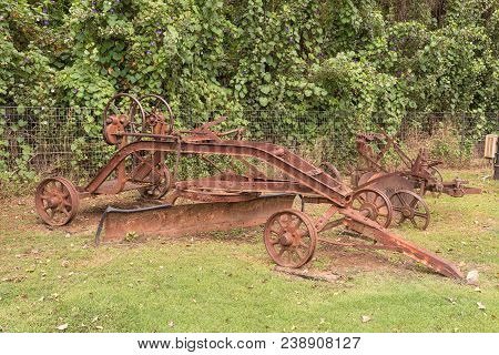 Winterton, South Africa - March 18, 2018: An Historic Road Grader On Display At The Pig And Plough F