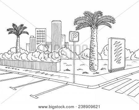 Parking Graphic Black White City Landscape Sketch Illustration Vector