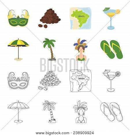 Brazil, Country, Umbrella, Beach . Brazil Country Set Collection Icons In Cartoon, Outline Style Vec