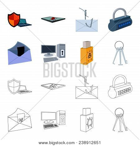 Virus, Monitor, Display, Screen .hackers And Hacking Set Collection Icons In Cartoon, Outline Style