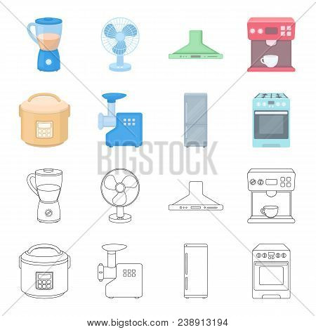 Multivarka, Refrigerator, Meat Grinder, Gas Stove.household Set Collection Icons In Cartoon, Outline