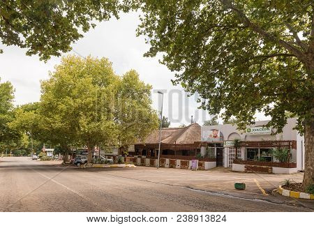Winterton, South Africa - March 18, 2018: A Street Scene With A Restaurant And Other Businesses In W