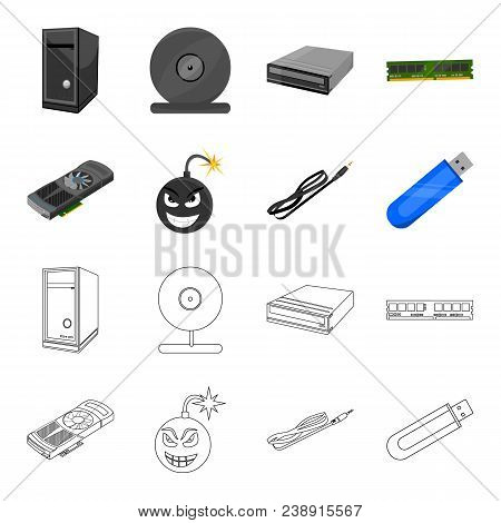 Video Card, Virus, Flash Drive, Cable. Personal Computer Set Collection Icons In Cartoon, Outline St