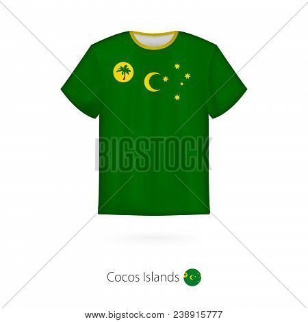 T-shirt Design With Flag Of Cocos Islands. T-shirt Vector Template.