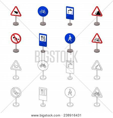 Different Types Of Road Signs Cartoon, Outline Icons In Set Collection For Design. Warning And Prohi