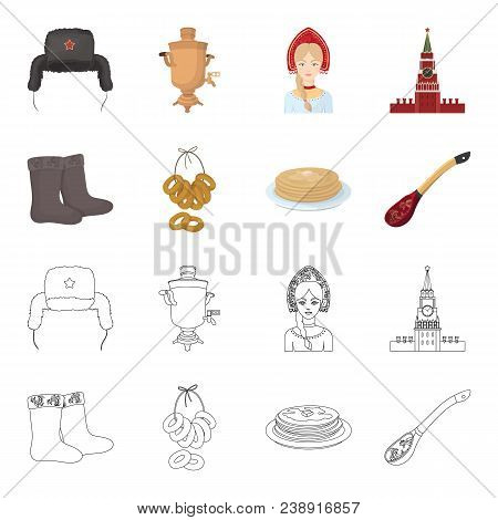 Felt, Boots, Drying, Gingerbread .russia Country Set Collection Icons In Cartoon, Outline Style Vect