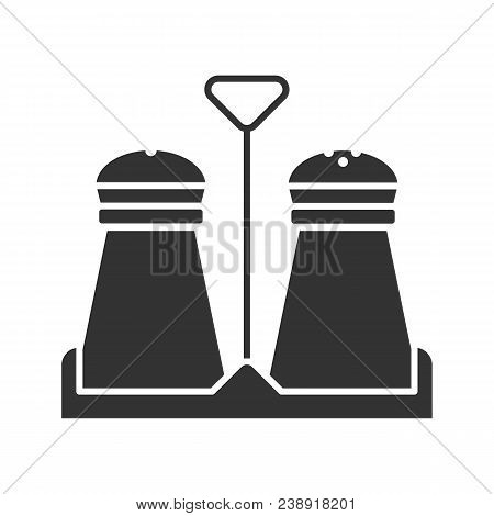 Salt And Pepper Shakers Glyph Icon. Silhouette Symbol. Spice. Negative Space. Vector Isolated Illust