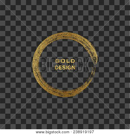 Round Grunge Golden Frame On Transparent Background. Circle Luxury Vintage Border, Stamp.trendy, Lab