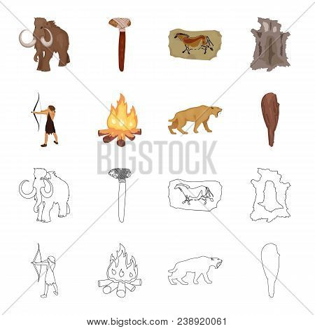 Man, Hunter, Onion, Bonfire .stone Age Set Collection Icons In Cartoon, Outline Style Vector Symbol