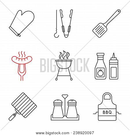 Barbecue Linear Icons Set. Bbq. Oven Mitt, Skewer And Tongs, Spatula, Grilled Sausage, Grills, Ketch