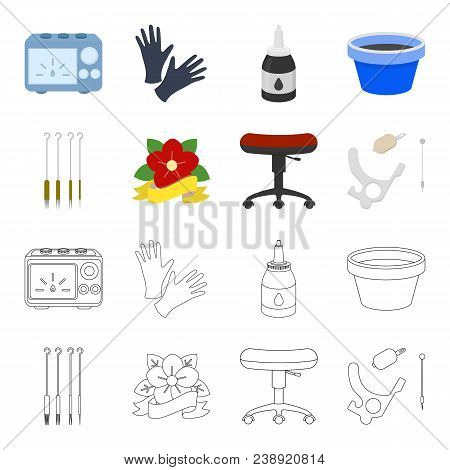 Chair On Rollers, Needles For Tattoo And Other Equipment. Tattoo Set Collection Icons In Cartoon, Ou