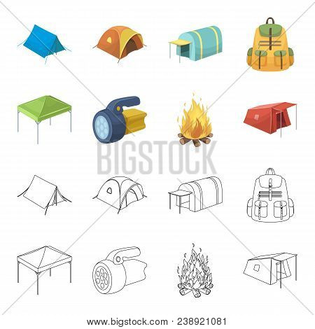 Awning, Fire And Other Tourist Equipment.tent Set Collection Icons In Cartoon, Outline Style Vector