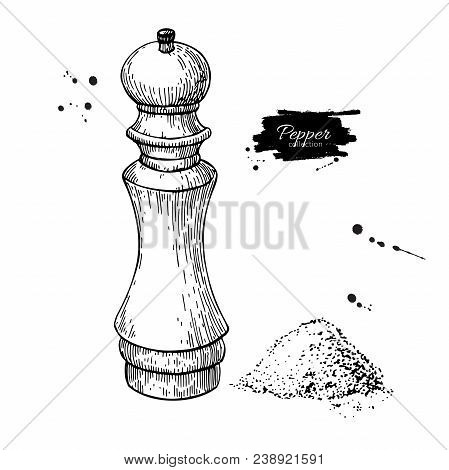 Pepper And Salt Mill Vector Drawing. Seasoning And Spice Grinder Sketch. Black Pepper Shaker. Cookin