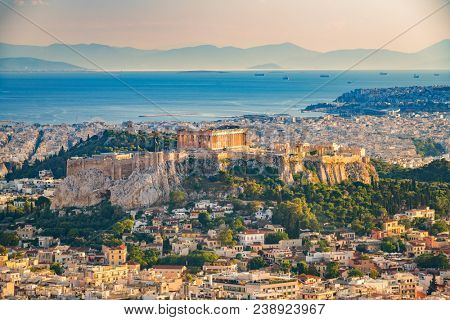 Panoramic aerial view of Athens, Greece at summer day