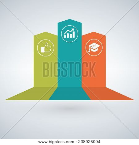 Arrow Infographic Concept. Vector Template With 3 Options, Parts, Stages, Buttons. Can Be Used For W