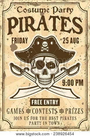 Pirates Invitation Poster To Costume Party With Skull In Hat And Crossed Sabers Vector Illustration