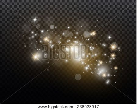 White Sparks And Golden Stars Glitter Special Light Effect. Vector Sparkles On Transparent Backgroun