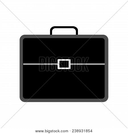 Vector Flat Illustration Of A Black Briefcase Isolated. Business Handbag For Business Man. Working B