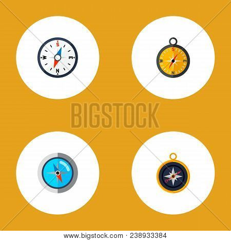 Icon Flat Direction Set Of Divider, Measurement Dividers, Compass And Other Vector Objects. Also Inc