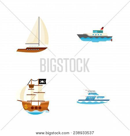 Icon Flat Ship Set Of Pirate, Yacht, Ship And Other Vector Objects. Also Includes Ship, Yacht, Boat