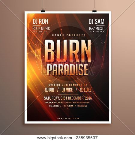 music party flyer template card with abstract fire theme poster