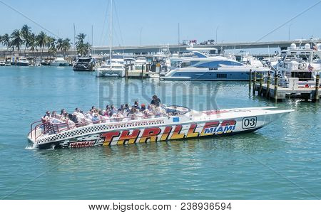 Miami, Florida - April 17, 2018: Tourists Getting A Thrill On A Speed Boat At Bayside