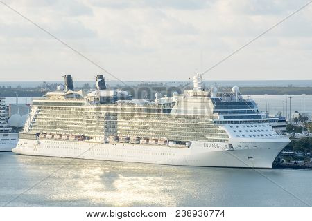 Miami, United States - April 7, 2018: Celebrity Equinox Cruise Ship Docked In Miami Cruise Ship Term