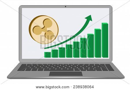 Ripple Coin With Growth Chart On A  Laptop Screen On White Background , Cryptocurrency In The Laptop