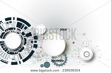 Abstract Vector Technology Equipment Electronic With 3d And Circuit Board. Illustration Electronic C