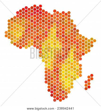 Africa Map. Vector Honeycomb Territory Map In Fire Color Shades. Impressive Africa Map Collage Is Or