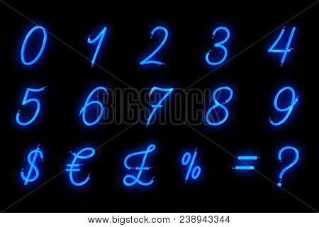 Neon Font Blue Alphabet Number Numeric Word Text Series Symbol Sign On Black Background, Neon Numeri