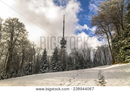 Tower on Medvednica mountain in Zagreb in winter poster