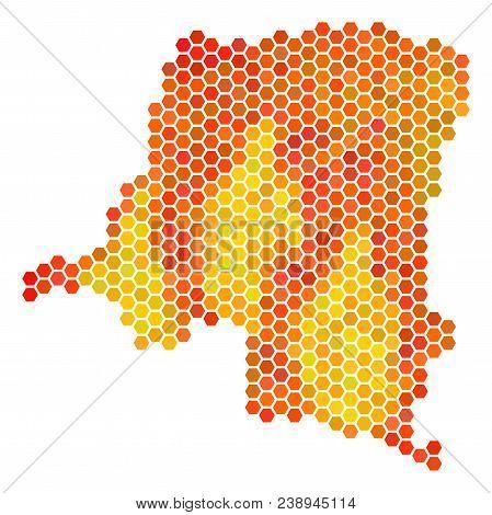 Democratic Republic Of The Congo Map. Vector Hexagonal Territorial Scheme Drawn With Fire Color Vari