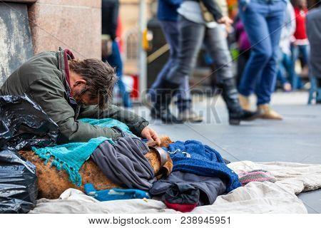 Homeless Man In The City Of Edinburgh, Scotland